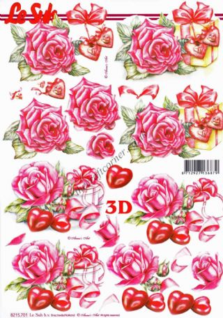 Roses & Love Heart Wrapped Gift Boxes 3d Decoupage Craft Sheet